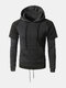 Mens Casual Pullover Drawstring Stitching Color Hooded Cotton Hoodies Sweatshirts  - Deep gray