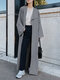 Solid Color Long Sleeve Lapel Collar Coat For Women - Grey