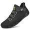 Men Pigskin Leather Splicing Mesh Fabric Comfy Breathable Elastic Hook Loop Casual Driving Shoes - Black