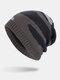 मेन विंटर Plus वेलवेट स्ट्राइप्ड पैटर्न आउटडोर लंबे बुना हुआ गर्म बेनी टोपी - धूसर