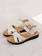Women Daily Breathable Real Leather Hook Loop Flat Sandals - White
