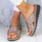 Large Size Women Comfy Open Toe Solid Color Non Slip Wedges Slippers - Khaki