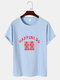 Mens Chinese Character Happiness Print Linen Texture Short Sleeve T-Shirts - Blue