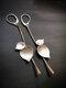 Vintage 925 Silver Plated Women Earrings Simple Symmetry Tree Leaf Pendant Earrings - Silver