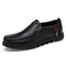 Men Cow Leather Non Slip Large Size Slip On Soft Sole Casual Shoes - Black