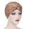 Womens Vintage Tie Bead Beanie Cap Casual Milk Silk Soft Solid Bonnet Hat Headpiece - Light Brown