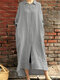 Solid Color Button Pocket Long Sleeve Casual Dress for Women - Gray