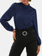 Women Solid Color Stand Collar Long Sleeve Casual Blouse - Navy