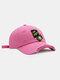 ユニセックスコットンブロークンホールレター漫画スマイルフェイス刺繡布ラベルオールマッチ日焼け止め野球帽 - ピンク