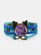 Vintage Purple Cat Pattern Print Butterfly Braided Gemstone Multi-layer Bracelet - Blue