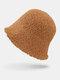Women Lamb Wool Thick Plain Color Keep Warm Casual Fashion Sunvisor Bucket Hat - Camel