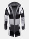Mens Colorblock Contrast Color Mid-Length Casual Hooded Cardigan Sweater - グレー