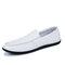 Men Microfiber Leather Non Slip Slip On Loafers Casual Driving Shoes - White