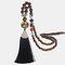 Vintage Buddha Wood Beads Long Necklace Ethnic Geometric Tassel Pendant Sweater Chain - 01