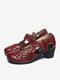 Solid Color Hollow Out Women Casual Low-Heels Mary Jane - Red