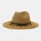 Men And Women British Wind Jazz Straw Hat Outdoor Sunscreen Breathable Big Brim Sun Hat - Khaki