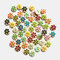 100 pcs Cute 15mm Printed Flowers Wooden Buttons Children's Clothing Accessories Buttons - #02