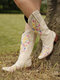 Large Size Women Flowers Embroidered Chunky Heel Slip On Cowboy Boots - Beige