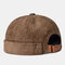 Men & Women Retro Corduroy Solid Color Melon Leather Hat For Men And Women In Autumn And Winter Warm Landlord Hat Casual Curled Sailor Hat - Brown