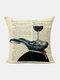Animal Head Wine Glass Pattern Linen Cushion Cover Home Sofa Art Decor Throw Pillowcase - #15
