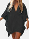 Women Bat Sleeve Cover Ups Trim Solid V-Neck Over Head Breathable Sunscreen Beachwear - Black