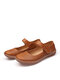 Women Comfy Round Toe Breathable Hollow Out Slip Resistant Soft Hook Loop Casual Flats - Brown