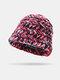 Women Woolen Rainbow Color Cuffed Ear Protection Warm Casual Beanie Bucket Hat - Wine Red