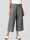 Wide Leg Button Loose Solid Color Casual Pants For Women - Grey