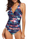 Printed Backless Gather Cover Belly One Piece Swimsuit Swimwear For Women - Red