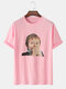 Mens 100% Cotton Surprised Boy Graphic Loose Street Short Sleeve T-Shirts - Pink