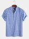 メンズストライプ半袖ハーフボタンコットンカジュアルヘンリーシャツ - 青