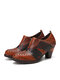 SOCOFY Retro Hollow Pattern Color Block Cowhide Leather Comfy Side Zipper Chunky Heel Ankle Pumps - Coffee