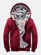Mens Winter Thicken Solid Zipper Front Casual Relaxed Fit Hooded Jackets - Red