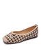 Women Houndstooth Loafers Shoes Comfy Soft Elegant Bowknot Flats Ballet Shoes - Khaki