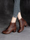 Women Retro Hollow Double Back-zip Chunky Heel Shoes Casual Soft Comfy Short Boots - Brown