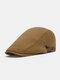Men Cotton Solid Color Casual All-match Beret Flat Cap - Khaki