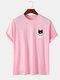 Mens 100% Cotton Cat & Bone Print Cute Short Sleeve T-Shirts - Pink