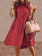 Solid Color Ruffled Collar Sleeveless Casual Pleated Dress - Red