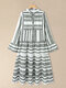 Geometric Print V-neck Plus Size Beach Tiered Dress - Grey