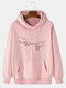 Mens Hand Graphic Print Solid 100% Cotton Casual Pullover Hoodie - Pink