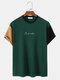 Mens Design Embroidery Contrasting Color Patchwork Short Sleeve T-Shirt - Green