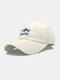ユニセックス コットン ソリッド カラー サメの手紙刺繍サンシェード ファッション ベースボール キャップ - 白い