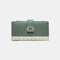 Women Genuine Leather 12 Card Slots Patchwork Floral Photo Card Money Clip Coin Purse Multifunctional Wallet - Green