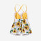 Baby Sunflower Print Lace Spliced Slip Rompers Jumpsuit For 0-24M - Yellow