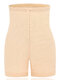 Plus Size Front Closure Tummy Control High Waisted Shorts - Apricot
