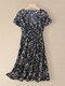 Women Floral Print V-neck Elastic Waist Short Sleeve Dress - Black