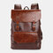 Men 15.6 Inch Large Capacity Leather Laptop Bag Backpack - Coffee