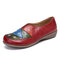 LOSTISY Color Block Handmade Stitching Round Toe Flat Shoes For Women - Red