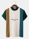 Mens Letter Pattern Knitted Patchwork Crew Neck Short Sleeve T-Shirt - Dark Green