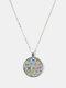 Geometric Round Glass Open Eyes Cat Print Women Pendant Necklace - Silver